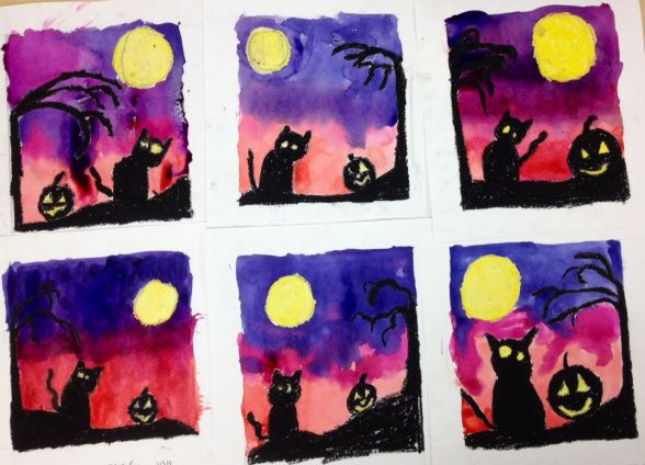 """Fourth Grade Halloween Silhouettes Watercolor Wax Resist."" Art Teacher in LA: 10/18/14. Fun Halloween project!"