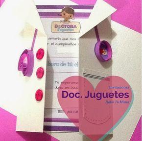 Invitacion de La Doctora Juguetes, Gratis para Descargar y solo Rellenar. #DoctoraJuguetes #DocMactuffins #Invitación #PasoAPaso