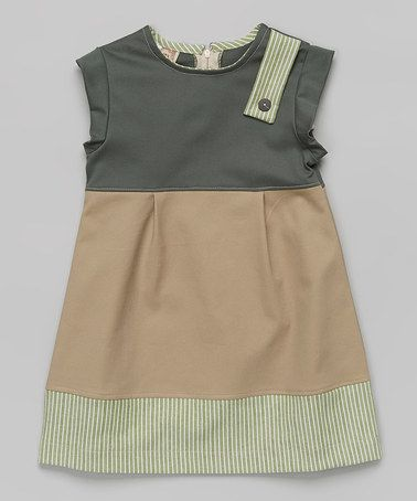 Look what I found on #zulily! Green & Tan Color Block A-Line Dress - Toddler & Girls #zulilyfinds