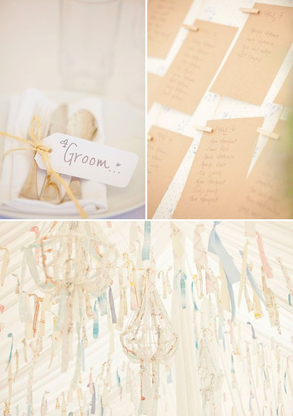 Love how they fashioned strips of pretty fabric into decorations for a tent.: Names Tags, Pretty Fabrics, Candy Bar, Big Fans, Installations Ideas, Beach Weddings, Magnolias Rouge, Bags, Fabrics Art