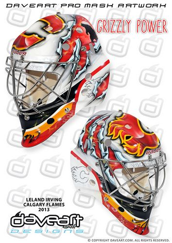 Leland Irving mask has been totally torn apart by a mad grizzly, and the old school Calgary Flames mask is totally ripped into pieces...! The design is a tribute to Leland's minor hockey team Swan Hills Grizzlies.