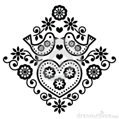 Folk art floral black  pattern with birds