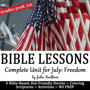 FLASH FREEBIE JUNE 22-26: Five Days ONLY for the upcoming July 4th holiday in the USA!! If you enjoy this resource, please hop over to your My Purchases page right after downloading and leave 4 stars!!July Bible NO PREP Stories, Coloring, Craft, Religious Lessons for Sunday School, Kids' Church, Home school, Private School Pre-K, Kindergarten, 1st, 2ndStudents will learn all about 4 Bible characters' journey to freedom this month.