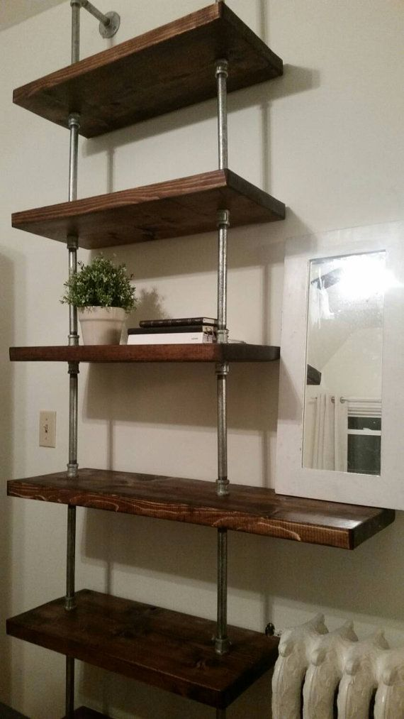 Rustic industrial pipe and wood shelving unit floor to ceiling || tall shelving unit bookcase || steel wood bookshelf || custom furniture