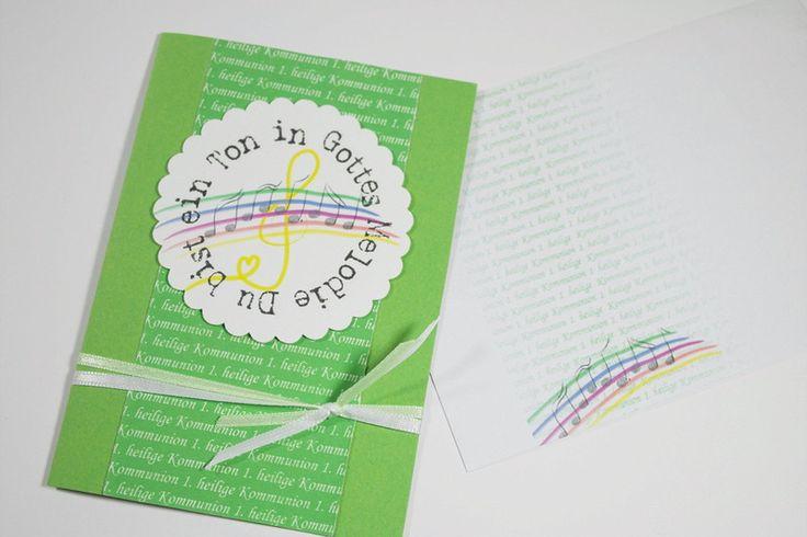 """Einladungskarten - Einladungskarte Kommunion """"Du bist ein Ton..."""" - ein Designerstück von Reizvoll bei DaWanda"""