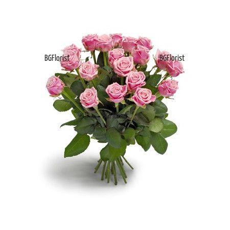 Доставка на розови рози с куриер в София