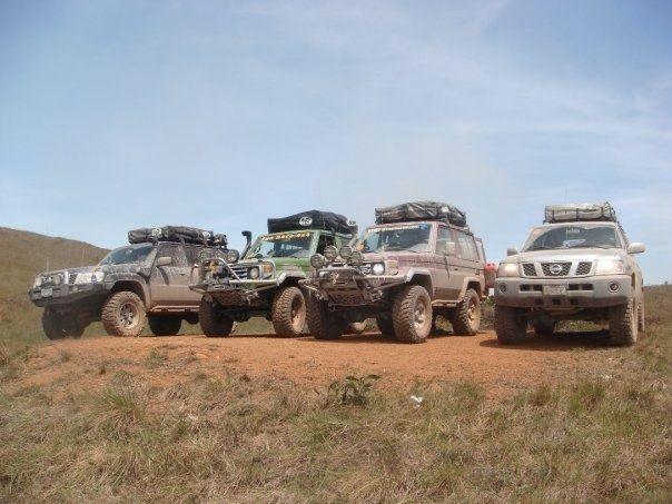 Two Nissan Patrol and Two Land Cruiser 70 Series in La Gran Sabana Venezuela.