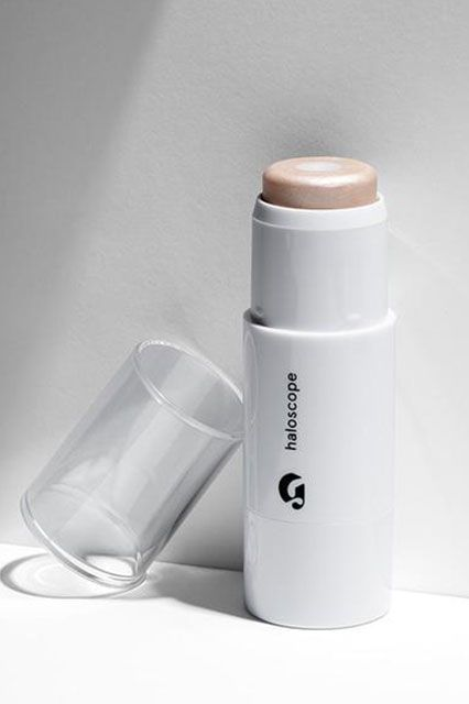 """""""I never met a highlighter I even remotely liked until this one. It's the perfect size to glide across your cheekbones, it blends in easily when you tap, tap, tap it with your fingers, and it never looks sparkly in the sun.""""Glossier Haloscope Face Highlighter in Quartz, $22, available at Glossier. #refinery29 http://www.refinery29.com/best-beauty-products#slide-13"""