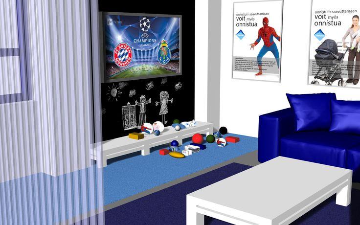 vastaanotto - odotustila ja leikkipaikka - AFTER  Piirros: Placido Afonso