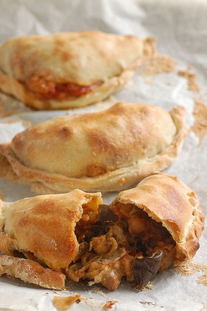 Vegetarian empanadas with eggplant, chickpeas, and goat cheese.