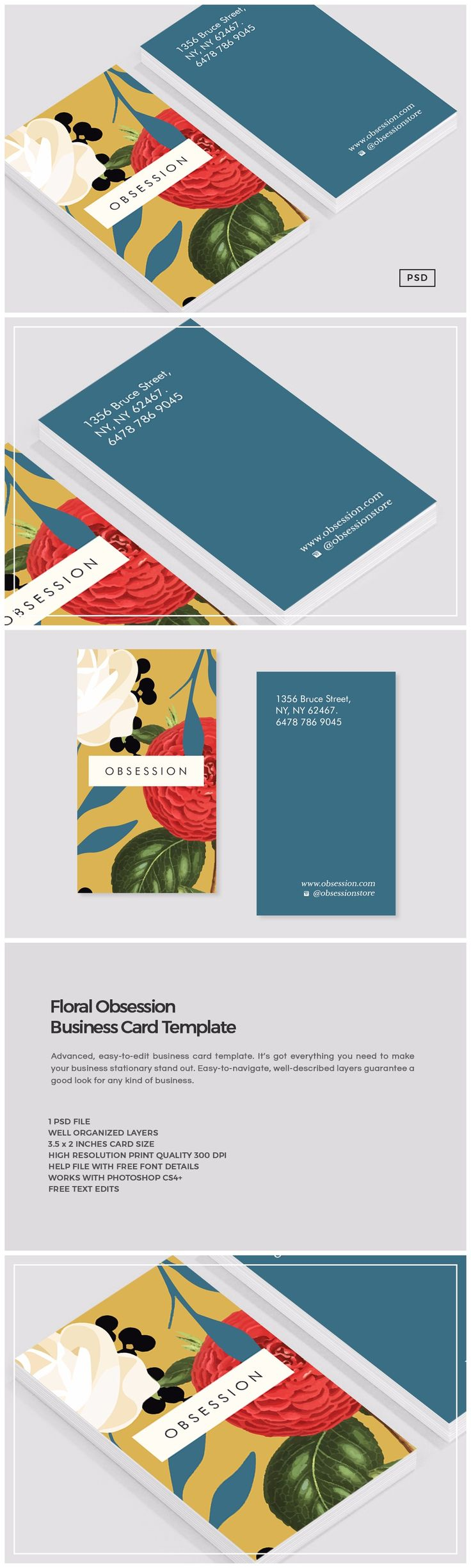 #Floral Obsession Business Card Template now available via #creativemarket ! Make it yours, free text edits included with every purchase. #pattern #illustration