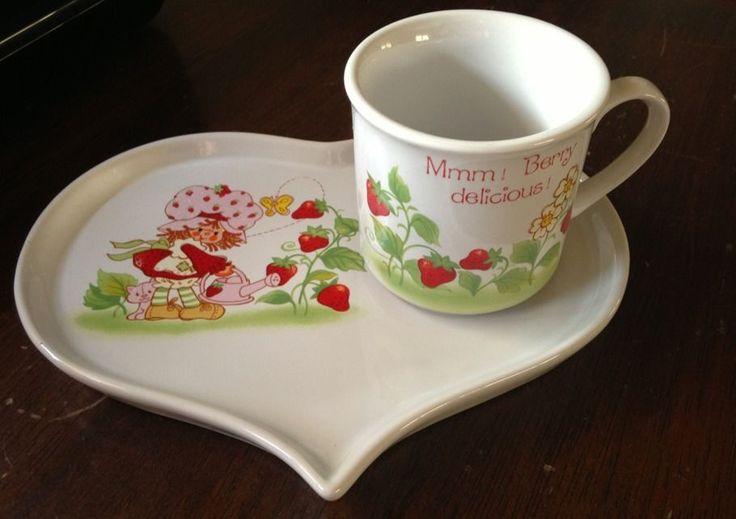 Rare Vintage Strawberry Shortcake Porcelain Heart shaped Heart Plate w/ Tea cup #AmericanGreetings