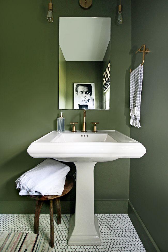 Hunted Interior Bathroom Makeover. Thyme Green Walls, Pedestal Sink, Gold Faucet