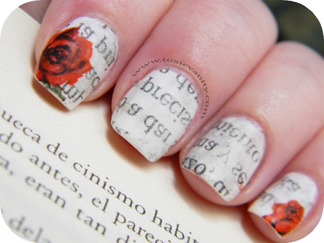 i've seen the awesome newspaper nails but adding the roses makes me love it even more!