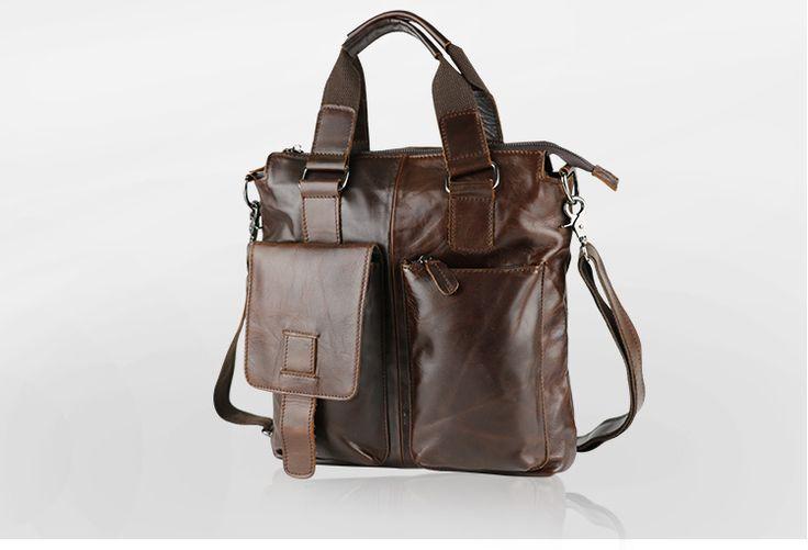 Free shipping Genuine leather handbag man bag messenger bag first layer of cowhide portable ramp collapsed Dark brown bag