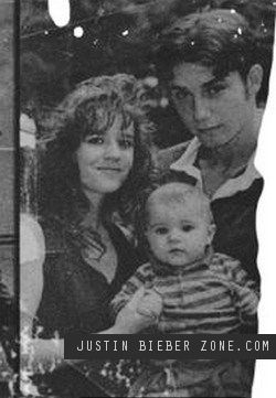 Justin Bieber Baby Pictures | justinbieberzone.com; baby Justin w/ his parents: mom, Pattie Mallette & dad, Jeremy Bieber in 1994