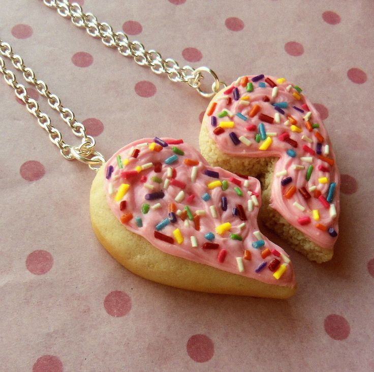sugar cookie with rainbow sprinkles bff necklace by ScrumptiousDoodle @etsy