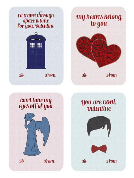 Doctor Who Valentines - A Valentine's Day Card Set of 8 DIY Printable Cards for Instant Download, One-sided Doctor Who Valentines on Etsy, $5.00