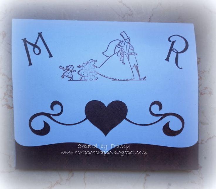 card per invito a nozze creata con la Silhouette Cameo e abbellita con un timbro Aladine. Le iniziali degli sposi sono intagliati usando sempre la Silhouette. Created by http://scripposcrappo.blogspot.it/