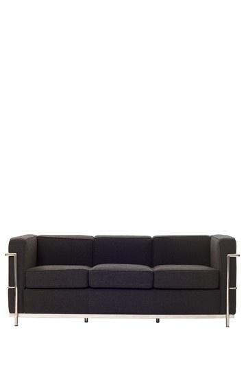 LC2 Le Corbusier Woolen Mix Sofa - Dark Gray
