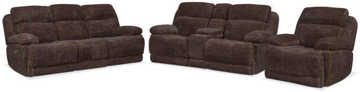 Monte Carlo Dual Power Reclining Sofa, Reclining Loveseat And Recliner Set - Brown