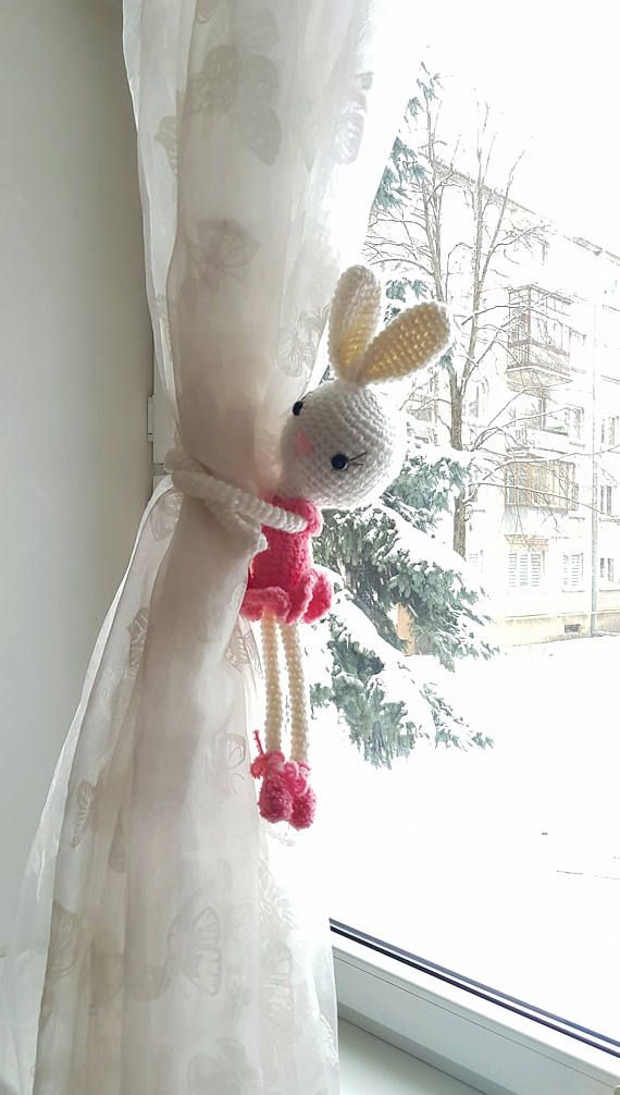 delightful Rabbit Tie Backs Part - 9: Bunny Curtain Tie Back, New Baby Gift, Crochet Easter Rabbit, Nursery  Curtains Tie, Baby Shower, Woodland Animal, Rabbit Plush, Its a girl