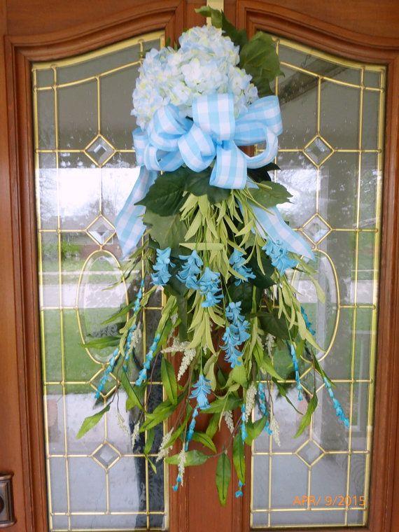 Hydrangea door swag  Spring Door Swag  by JulieButlerCreations