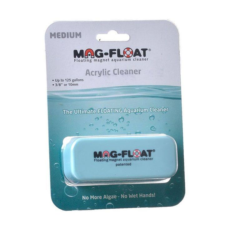 Gulfstream Mag Float acrylic aquarium cleaner contains special rubber-based velcro pads that safely removes algae from the surface. Medium: Recommend to be used on aquariums up to 125 gallons with a surface thickness up to 3/8 inch