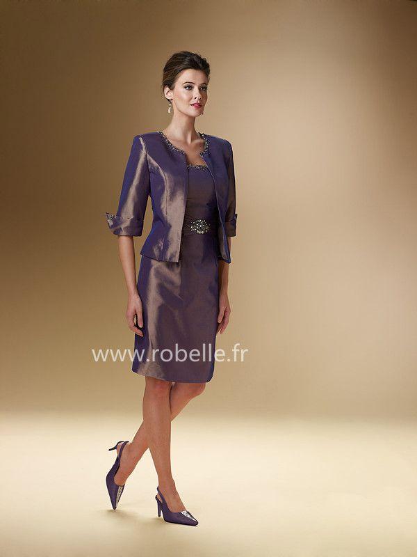 Robe Mère de Mariée Pas Cher Fourreau sans Bretelles Longueur de Genou Demi-manches en Perle en Taffetas