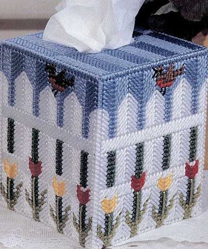 BREATH OF SPRING Tissue Box Cover - Boutique Size  - Colorful Tulips and Perched Bird on White Picket Fence