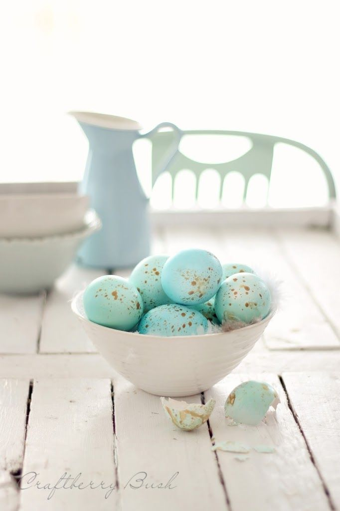 Beautiful soft aqua painted Easter eggs with golden specks.