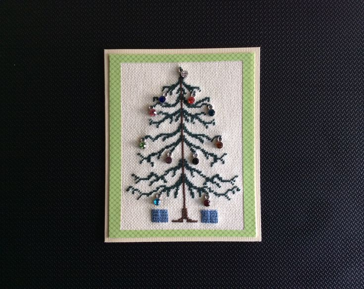 Petit Point Christmas Tree with added gem stones made by Karen Miniaci.