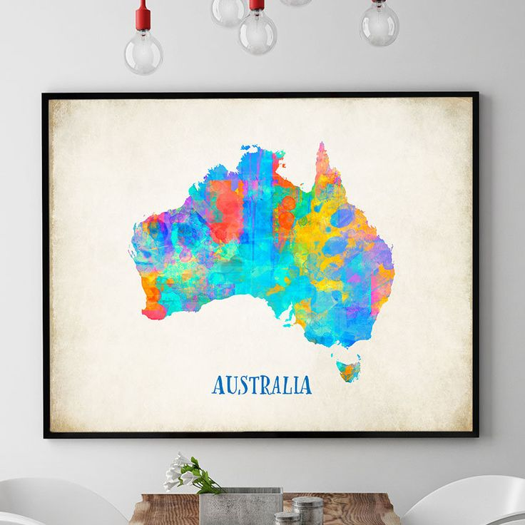 Australia Map Wall Art, Australian Poster, Map Of Australia Print, Watercolour Map Print, Home Decor, Nursery Decor, Kids Room Wall (715) by PointDot on Etsy