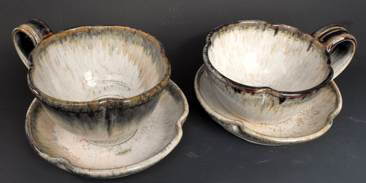 Latte cups with saucer. Thrown, altered stoneware. Dishwasher, oven and microwave safe
