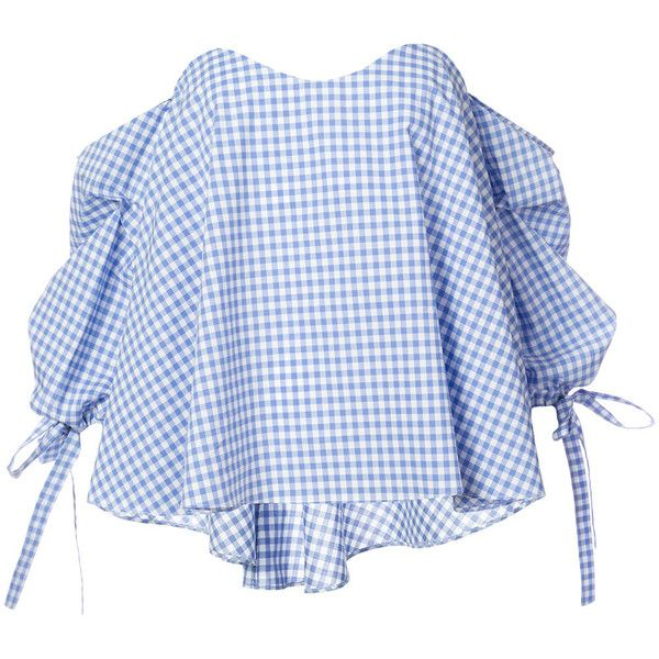 Caroline Constas checked off shoulder blouse found on Polyvore featuring tops, blouses, blue, caroline constas, blue blouse, blue off shoulder top, checkered top and off the shoulder tops