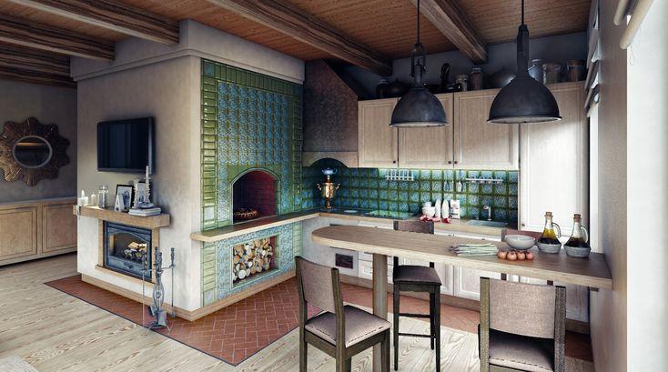 Русская печь в современном интерьере кухни