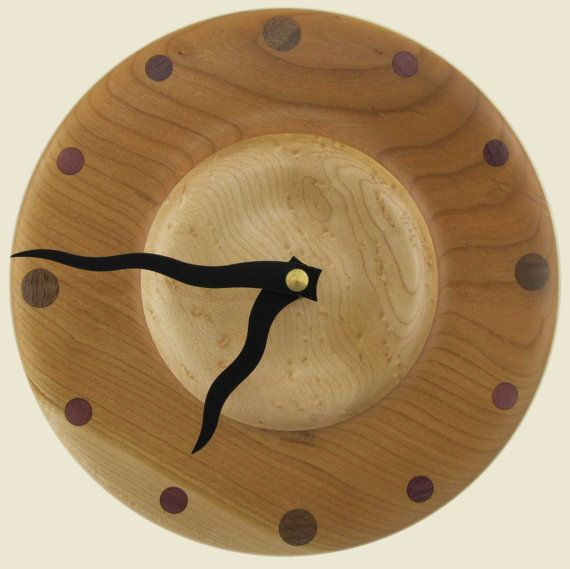 Natural wood turned clock in cherry and birdseye maple by twigsoup, $36.00