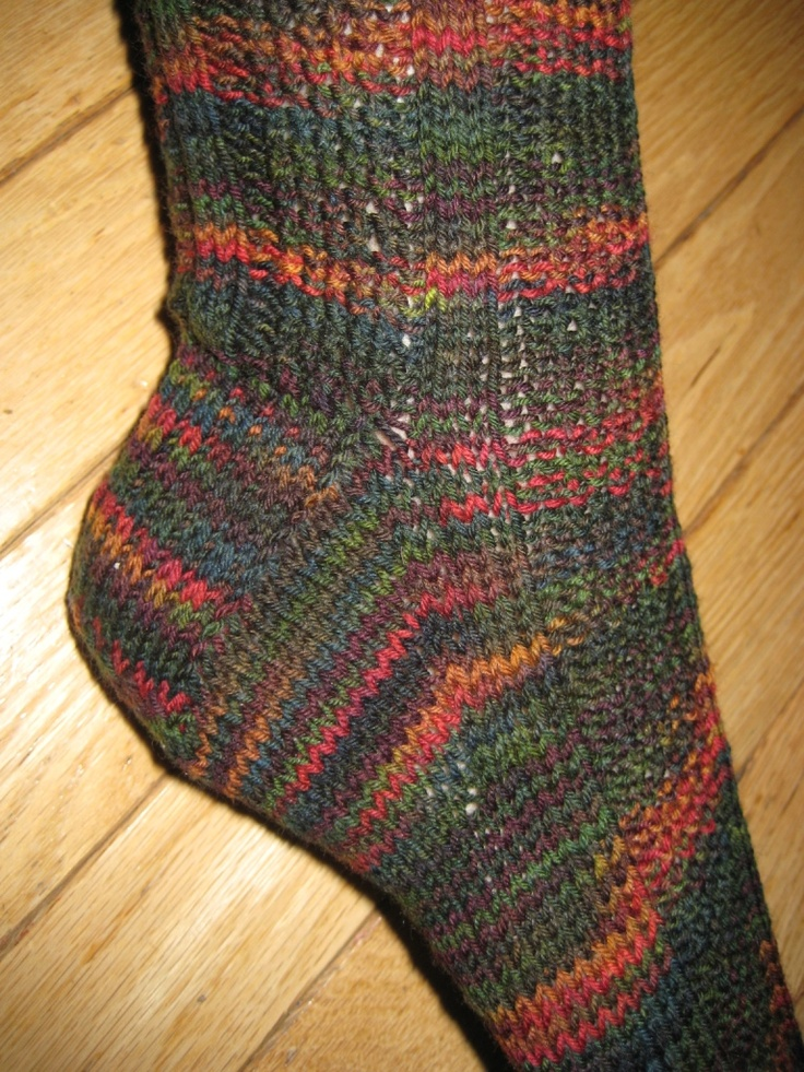 Snuggly Socks knitted socks in Mountain Colors Crazyfoot yarn.  http://www.ravelry.com/patterns/library/snuggly-socks-2