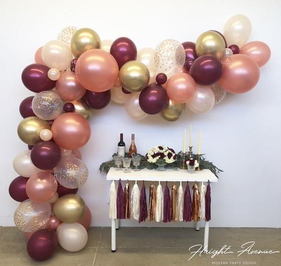Paper Garland BurgundyPink  champange and Rose Gold Decorations