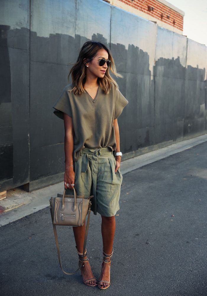 Spring / Summer - street chic style - beach style - safari style - brown v-neck wide short sleeve lightweight sweater + olive green culottes + olive green ring fabric belt + cream cross body bag + aviators + nude ankle strip heeled sandals: