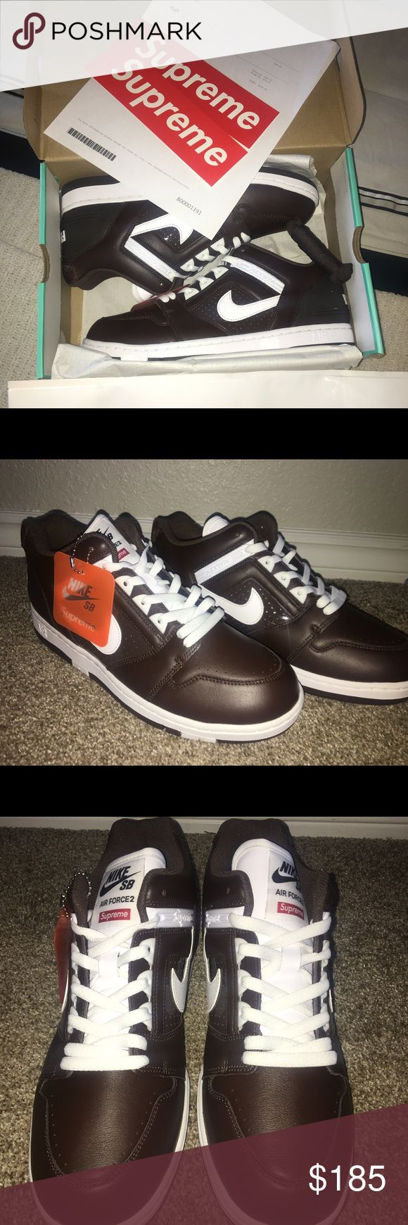 Supreme Nike SB Air Force 2 Brown Size 11 Brand new never worn fresh out the shipping box Supreme Shoes Sneakers