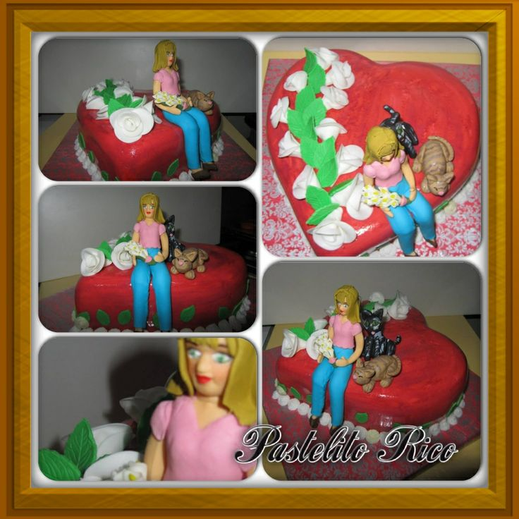 CakeDecorating love mom cat fondant Hart white Roses red cake   Pastelito rico torta corazón dia de las madres gatitos mama rosasBlancas