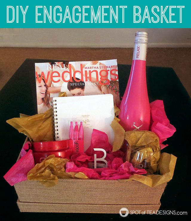 #DIY Engagement Basket Gift idea for a bride to be. #wedding  @cjtiefel  spotofteadesigns.com