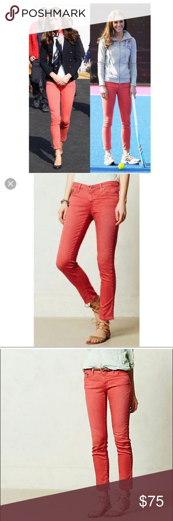 Adriano Goldschmied Red Stevie Ankle Jean Made in the USA and as seen on multiple celebs. :) These have stretch and feel amazing. Great condition, except for a few tiny spots on back left leg, but not noticeable at all when on! Ag Adriano Goldschmied Jeans Ankle & Cropped