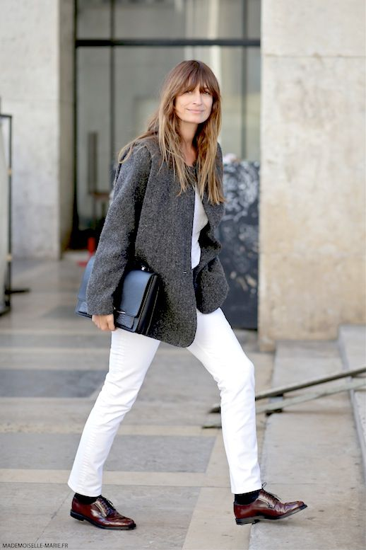 Photo via: Mademoiselle Marie Caroline De Maigret aces the menswear-inspired look by sporting a grey blazer, simple tee, white denim and oxfords. The effortless french hair completely compliments the