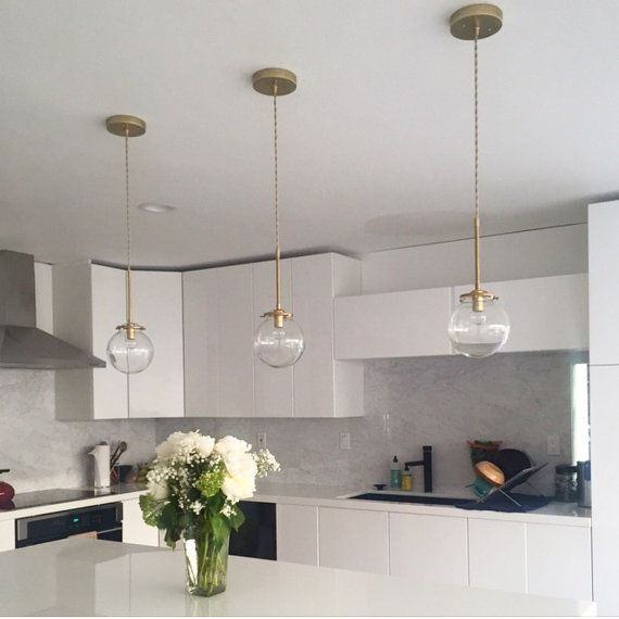 Modern White Kitchen With Island And Pendant Lights: Solid Brass Glass Globe Pendant Light Modern