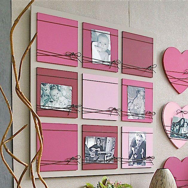 Pêle mêle photos en bois 9 vues rose et lacets en coton noir