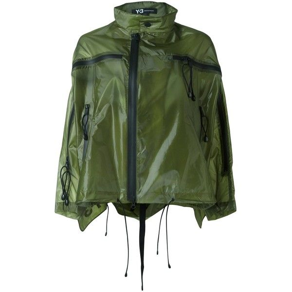 Y-3 Cropped Parka (1,020 CAD) ❤ liked on Polyvore featuring outerwear, coats, green, green parka coat, y3 coat, green coat, parka coats and cropped coat