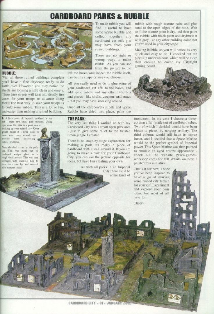 Modelling - Cardboard City. Old WD instructions
