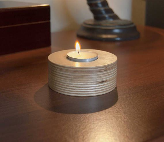 Tea Light Candle Holder 3pk.  Made from Baltic Birch and coated in a satin poly.